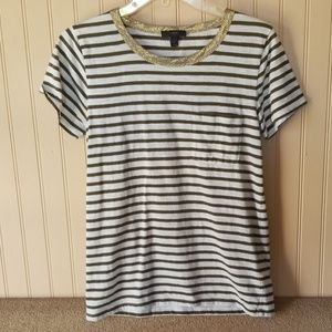 J. Crew tee small white gold olive green striped